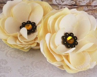 NEW: Aria Ivory Champagne Butter Large Layered vintage style Fabric Flowers with Antique Metal Medallion on Center
