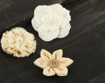 SALE CLEARANCE 25% Off : Tessitura  Vintage Style  Fabric Flowers varying styles and sizes
