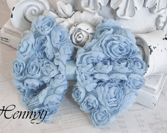 New to the Shop: 2 pcs Kylie Chiffon Rossette fabric BOW shabby Vintage look Appliques - Baby Boy BLUE / Pale Blue