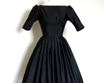 UK Size 8 / US size 4-  Black Grosgrain Audrey Prom Dress - Made by Dig For Victory