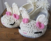 womens crochet Bunny house slippers MADE TO ORDER :)