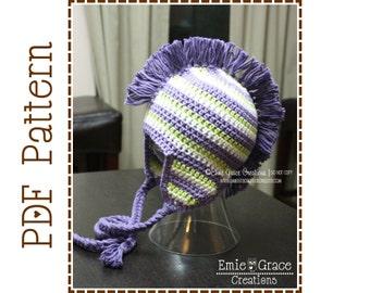 Mohawk Hat Crochet Pattern, Stripe Ear Flap, DYLAN - pdf 308