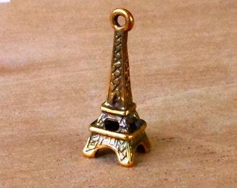 earring charm, EIFFEL TOWER,  antique gold patina  2 pcs