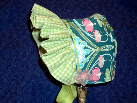 Teal Baby Sun Bonnet with Pink and Green