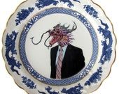 Mr. Yang the Business Dragon - Altered Vintage Plate