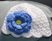 Crocheted Baby Beanie Hat Flapper Style - White - U PICK SIZE - Ready to Ship