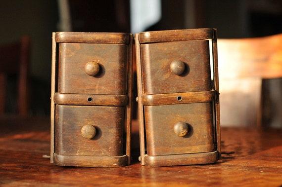 Four Vintage Sewing Drawers in Original Wood