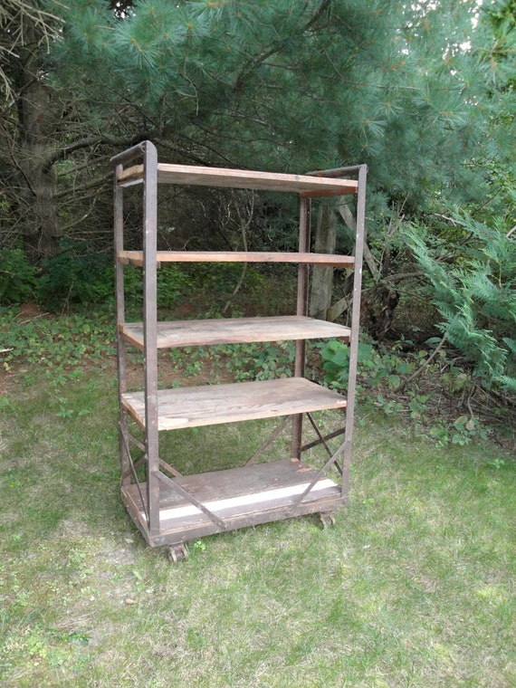 On Hold Vintage steel and wood industrial rolling shelf bookcase