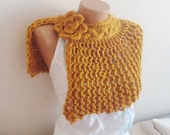 Spring wedding accessories mustard yellow hand knit capelet shawl bridesmaids gift mustard yellow shawl