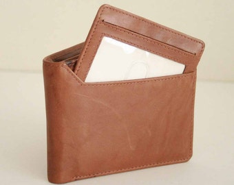 Genuine Soft Leather Basic Men Bifold Wallet with removable id wallet, Vintage 1990 in Antique Brown, Rare