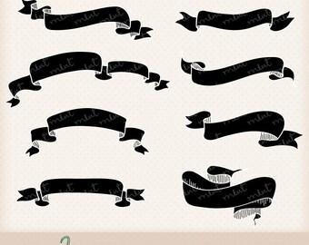 50% OFF SALE Vintage Banner Ribbon Digital Clipart Kit for digital scrapbooking, frame, tag, lable, invitation, stationery