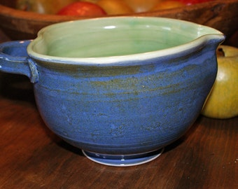 Porcelain Mixing Bowl / Egg Bowl / Vinaigrette Bowl /  Batter Bowl / Green / Blue