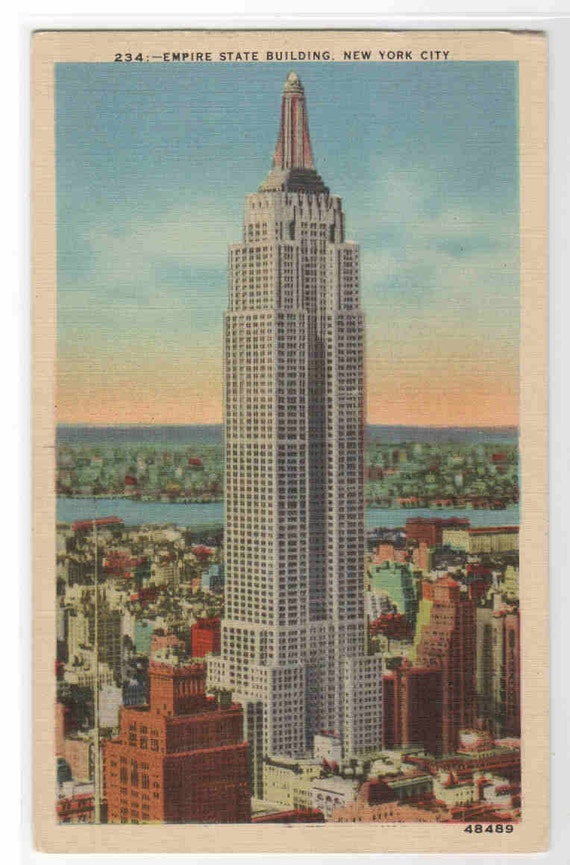 Empire State Building New York City 1942 linen postcard