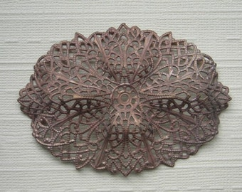 Vintage Brass Filigree Finding Stamping Beadable Brooch Topper