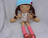 Ariel rag doll   brunette cloth doll   eco friendly cloth doll   doll with suede mary janes and beanie