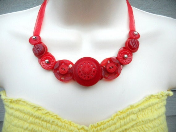 Ravishing in Red Button Necklace