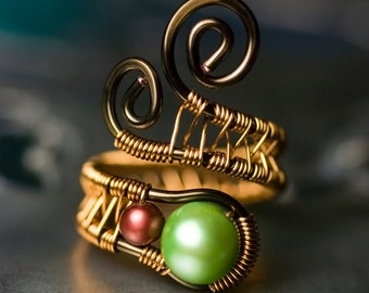 "Green Pearl Ring, Copper Wirework Ring - Lime Green, Cranberry Freshwater Pearl, Brass, Gold, Vintage Bronze, June - ""Mint Julep"""