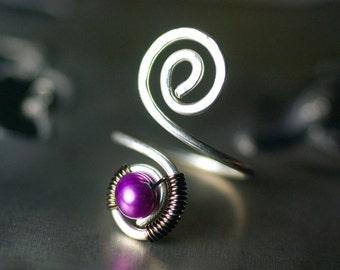 """Purple Pearl Toe Ring Argentium Silver Spiral Wirework Freshwater Pearl Nickel Free June Birthstone - """"Wildflower"""""""