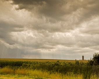 Midwest rustic farm Photography thunderstorm tornado decor corn field silo grey clouds sunlight rays - Storms a brewin' - fine art photo