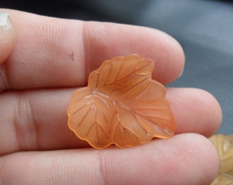 Light Orange Lucite Ivy Leaf Charm/Pendant 10pcs. 24x24 mm(Item Number OR2424)