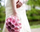 Pink Ombre Bridal Bouquet. Large Vintage-Inspired Paper Wedding Flower Bouquet, Plum to Light Pink Ombre, Pink Bridal Bouquet