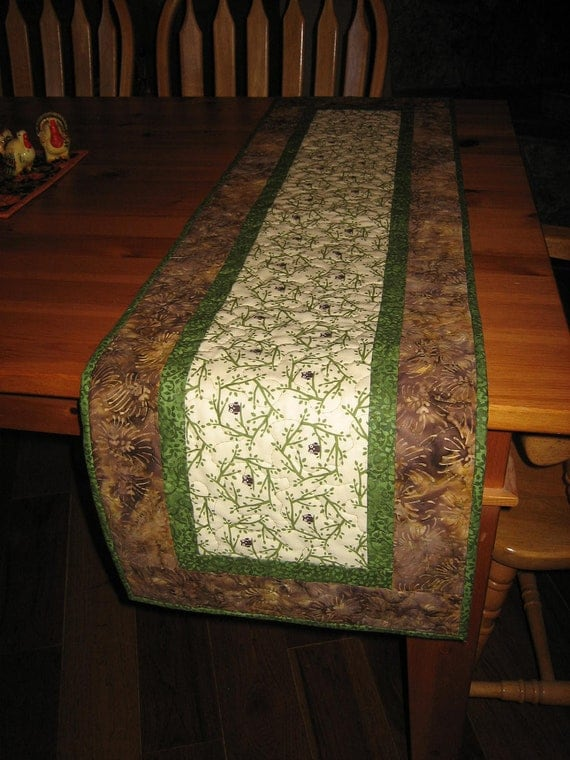 Table Runner, Owls on Branches with Green Leaves