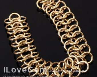 NP-1279 Gold plated over Brass, Chain Mail, Bracelet, 1pc