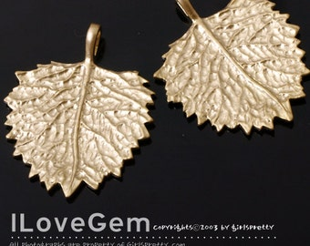 NP-1288 Matt Gold plated, Leaf pendant, 2pcs