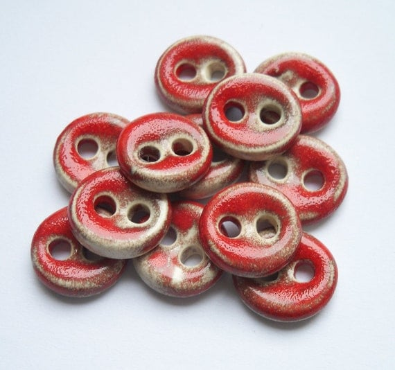 Small Red Hot Chilli Kissed Ceramic Buttons