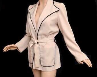 Vintage 70s Jacket 1970s Wrap Jacket BAGATELLE 40s Inspired Retro Smoking Jacket with Black Piping Tie Belt by Margaret Godfrey
