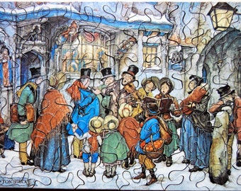 Hand Cut Wooden Anton Pieck Christmas Jigsaw Puzzle - The Carol Singers - (59 pieces) with Plywood Storage Box -- FREE US SHIPPING