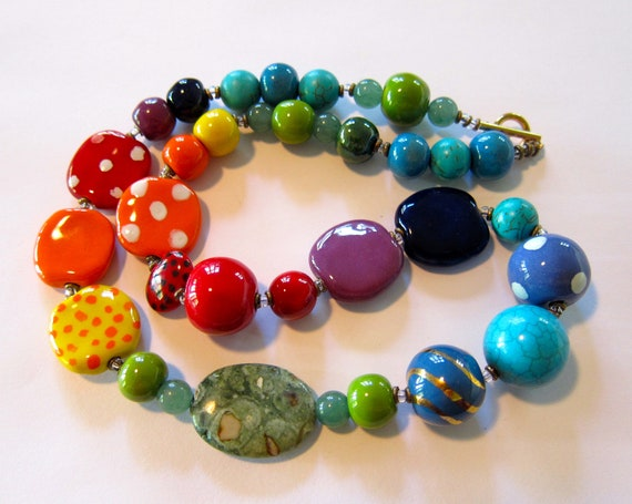 Kazuri Beaded Necklace, Rainbow Colors, Semi Precious Stones, Fair Trade