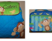 Boys Stephen Joseph Monkey 3 piece set- Backpack,Lunch Box and Water Bottle-Free Personalization