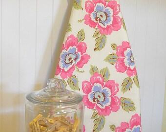 Designer Ironing Board Cover - Amy Butler Gypsy Caravan Wild Poppy Creamy Linen