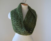 Olive Green Lace Knit Infinity Scarf N019