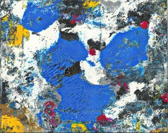 Satellite Image Original Fine Art Abstract Painting in White Mat