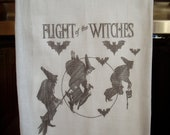 halloween flying witches flour sack towel