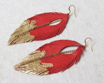 Leather Feather Earrings. Red with Gold Gilded Tip Earrings. Gold Leafed Sparkling Bohemian.