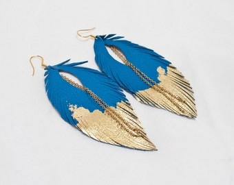Leather Feather Earrings. Blue with Gold Gilded Tip Earrings. Gold Leafed Sparkling Bohemian.