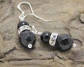Black Onyx, Swarovski Crystal, Obsidian Earrings