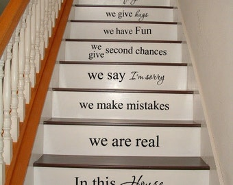 In this house STAIRS stairway Vinyl Decal Vinyl Decal Home Decor Door Wall Lettering Words Quotes