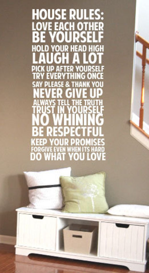 House Rules Never Give up Say Please & Thank You BIG Vinyl Decal 22x49 Vinyl Decal Home Decor Door Wall Lettering Words Quotes