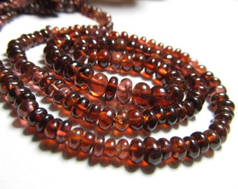 16 Inches Gorgeous - Natural Mozambique Garnet Smooth Polished Rondell Beads Nice Transparent size -  3 - 5 mm approx