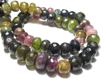 14 Inches so Gorgeous - TOURMALINE - Micro Faceted Rondell Beads Huge Size - 6 - 7 mm approx