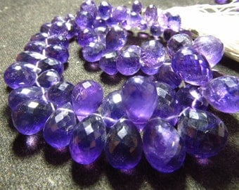 245/cts - Trully Gorgeous Nice Purple - AMETHYST - Faceted Tear Drops Briolett Huge Size - 5x7 - 10x14 mm Approx