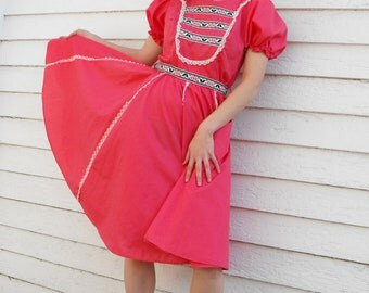 Pink Country Dress Square Dance Dancing Hearts Full Skirt Folk Vintage XS S