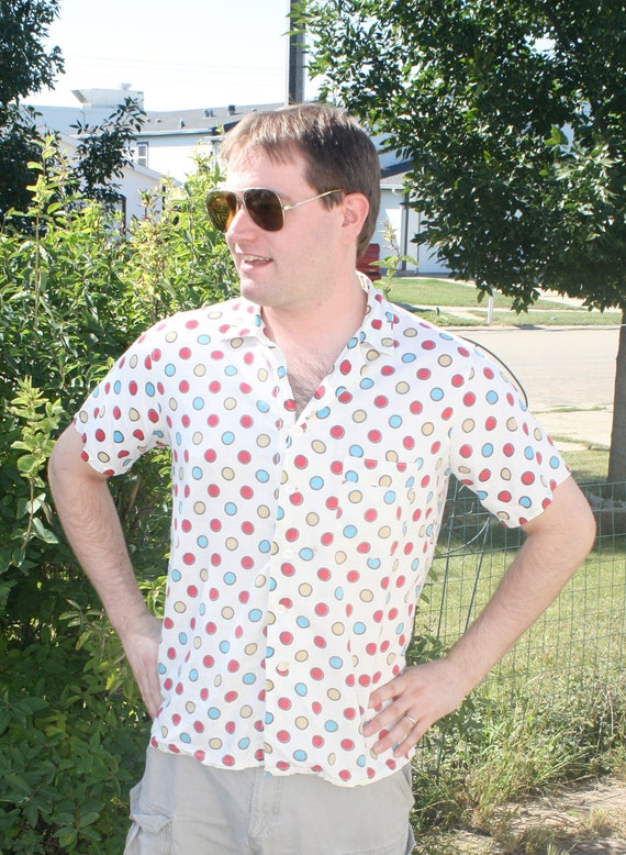 Vintage mens polka dot shirt button down casual xl by soulrust for Button down polka dot shirt