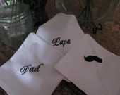 Set of 3 mustache set machine embroidered wedding handkerchiefs by Sweet Sewing Jeans