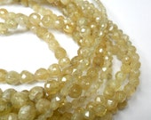 Gemstone Bead, Faceted, Gold Rutilated Quartz Rounds, spacer beads 6 mm   30 beads