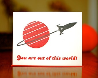 You Are Out of This World - Space Ship I Love You Card on 100% Recycled Paper
